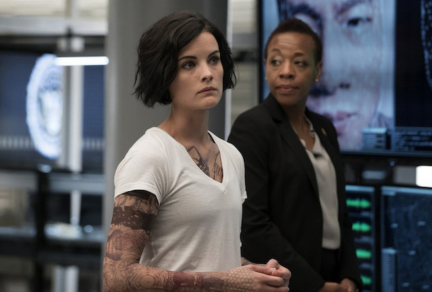 "BLINDSPOT -- ""A Stray Howl"" Episode 102 -- Pictured: (l-r) Jaimie Alexander as Jane Doe and Marianne Jean-Baptiste as Bethany Mayfair -- (Photo by: Virginia Sherwood/NBC)"